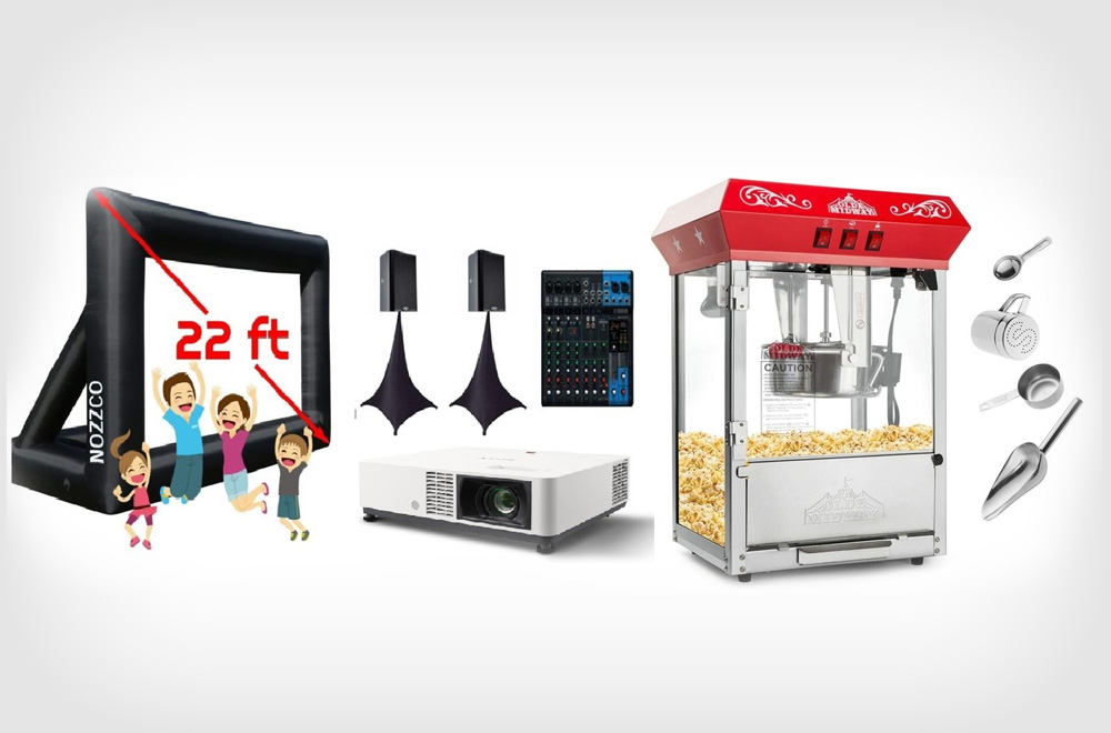 22 Feet Outdoor Movie Screen Rentals with Popcorn Machine