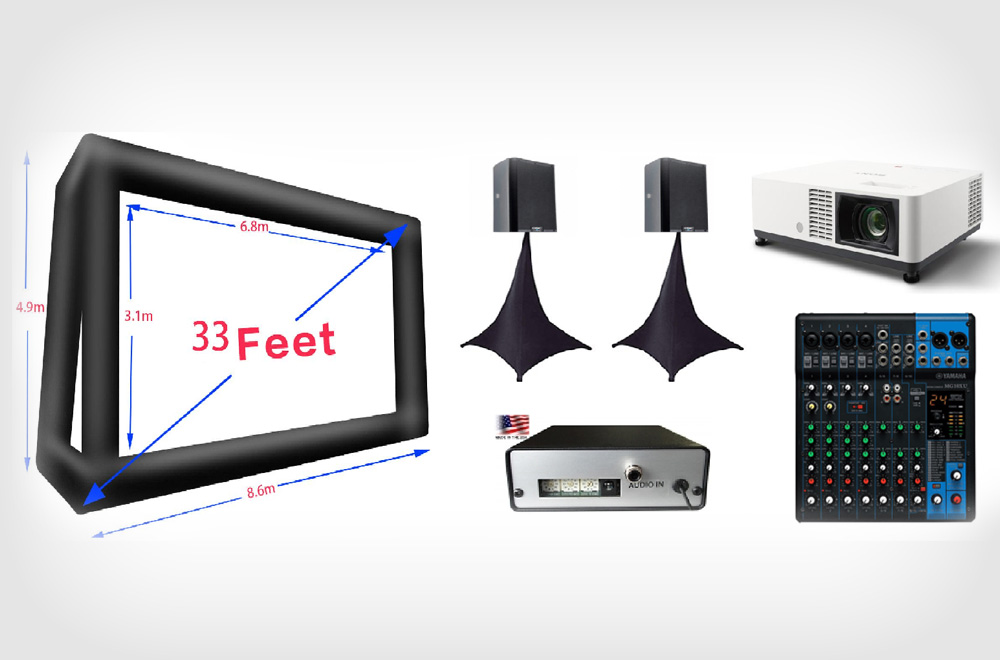 33 Feet Outdoor Movie Screen Rentals with FM Transmitter